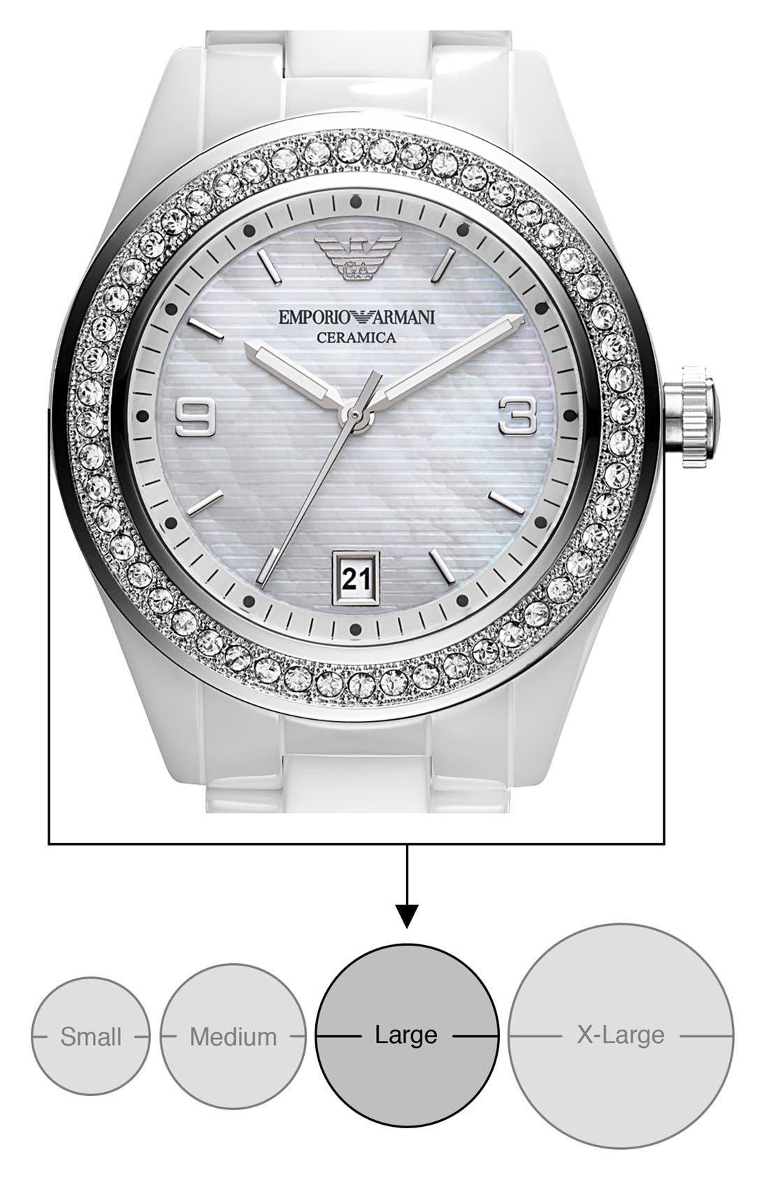Alternate Image 4  - Emporio Armani Medium Round Crystal & Ceramic Watch, 39mm