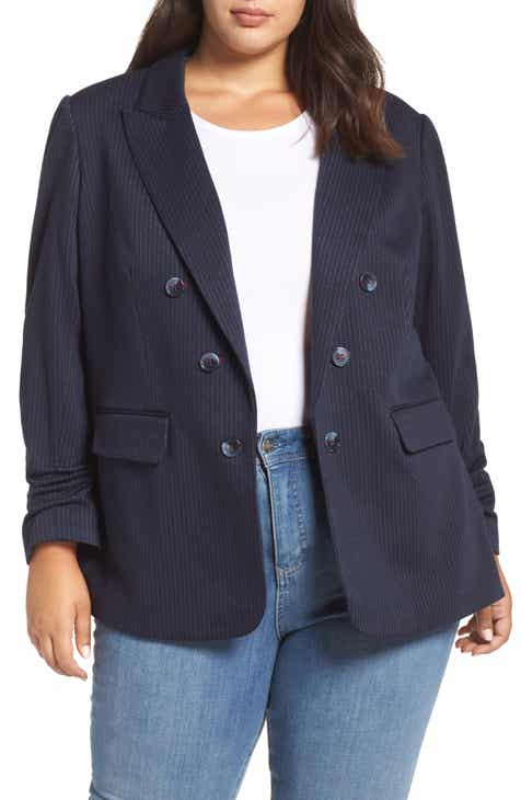 1.STATE Ruched Sleeve Pinstripe Blazer (Plus Size)