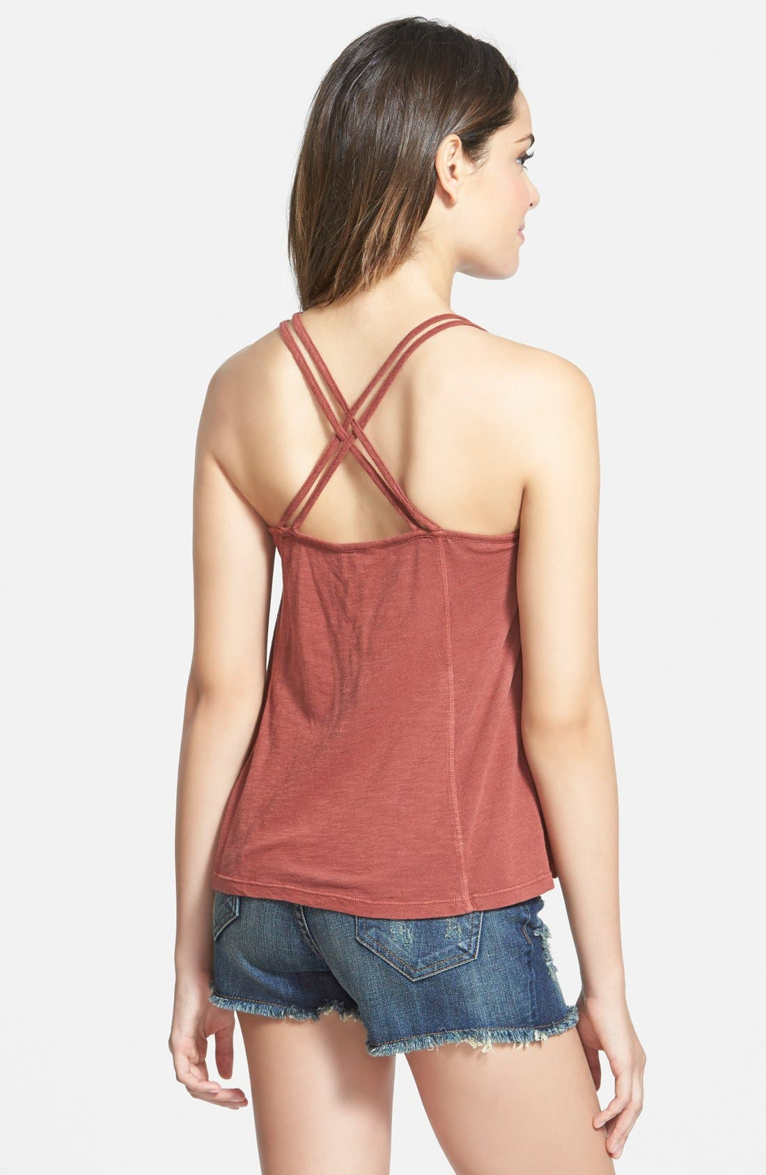 Alternate Image 2  - Sun & Shadow Embroidered Crop Camisole (Juniors)