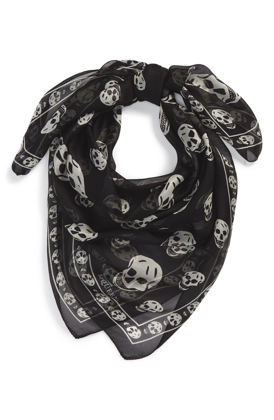 Main Image - Alexander McQueen Skull Print Silk Chiffon Scarf