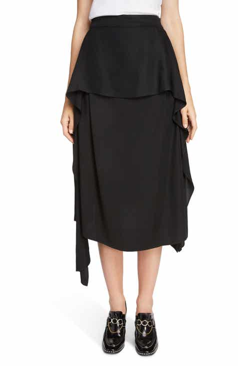 Theory Wrap Front Linen Blend Skirt by THEORY
