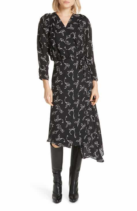 Joie Acantha Asymmetrical Wrap Silk Dress