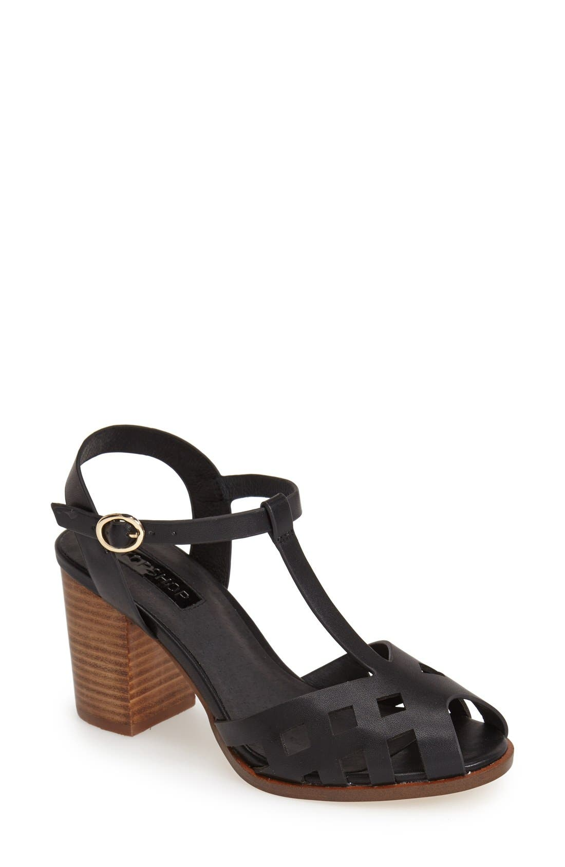Alternate Image 1 Selected - Topshop 'Newlywed' T-Strap Peep Toe Sandal (Women)