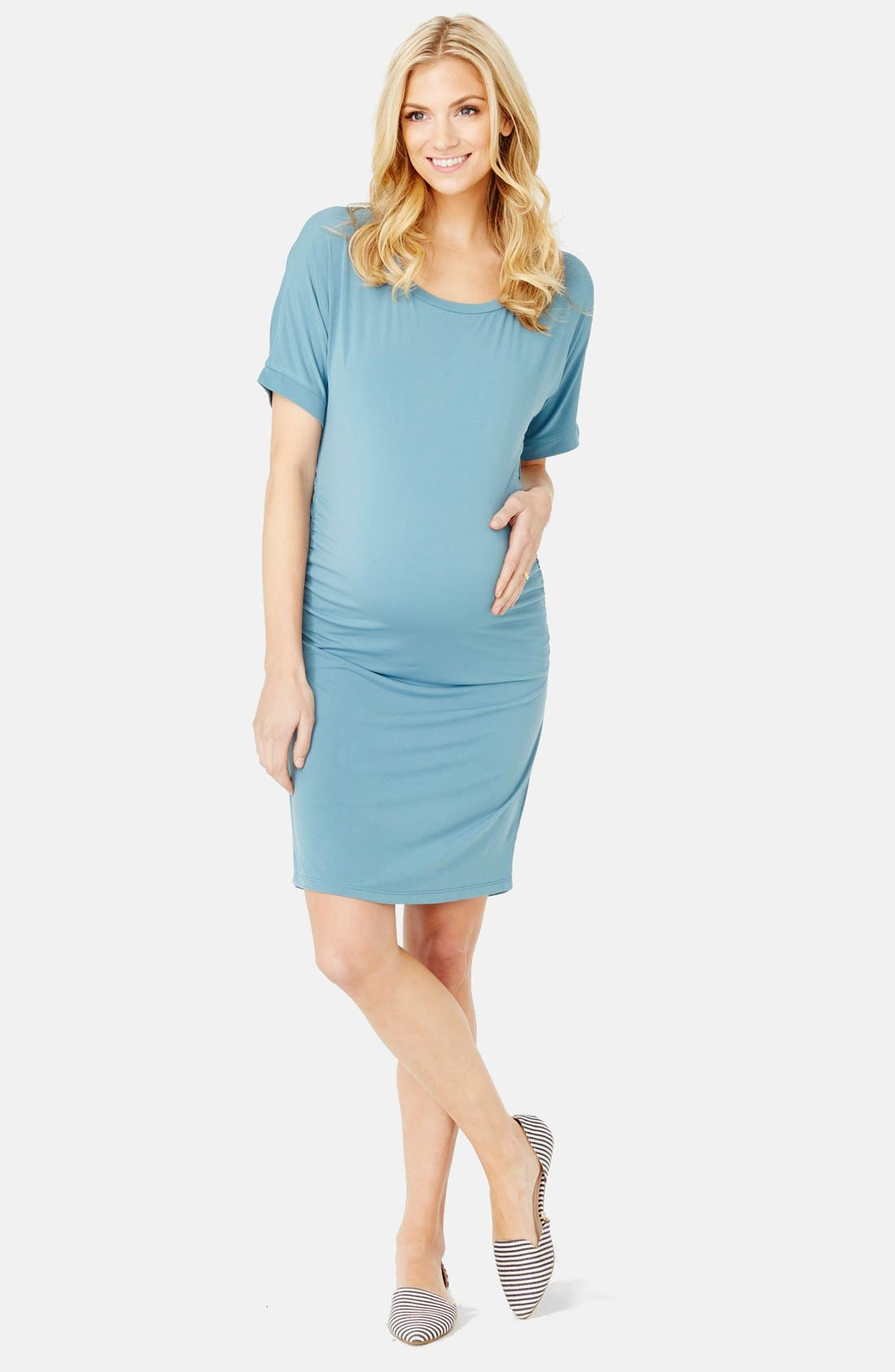 'Lauren' Maternity Dress,                             Alternate thumbnail 3, color,                             Ocean