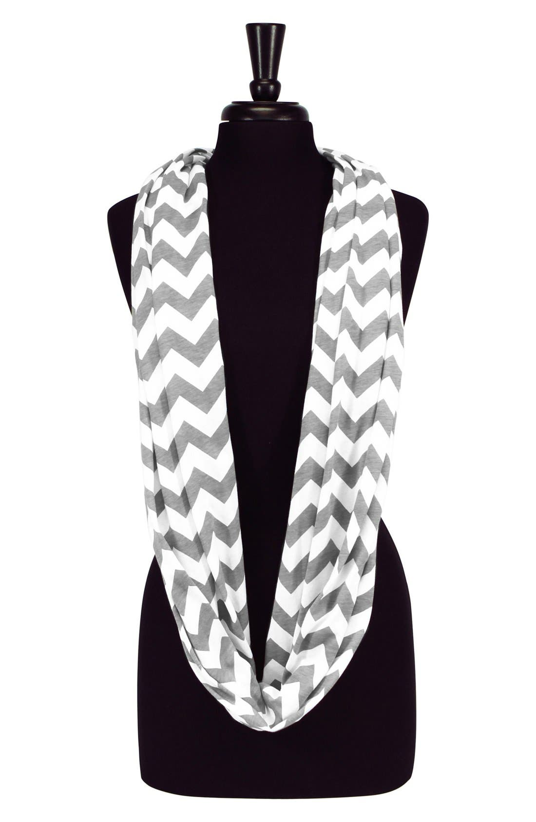 Infinity Nursing Scarf,                             Alternate thumbnail 2, color,                             Grey/ White