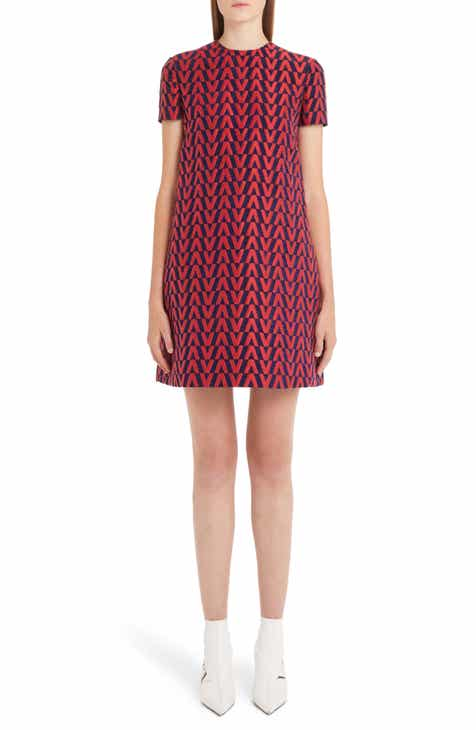 Valentino V Logo Brocade Shift Dress
