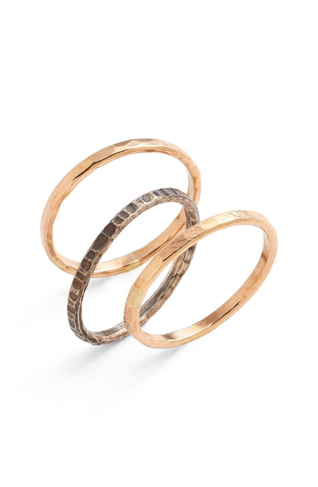 Main Image - Nashelle Ija Stackable Hammered Rings (Set of 3)
