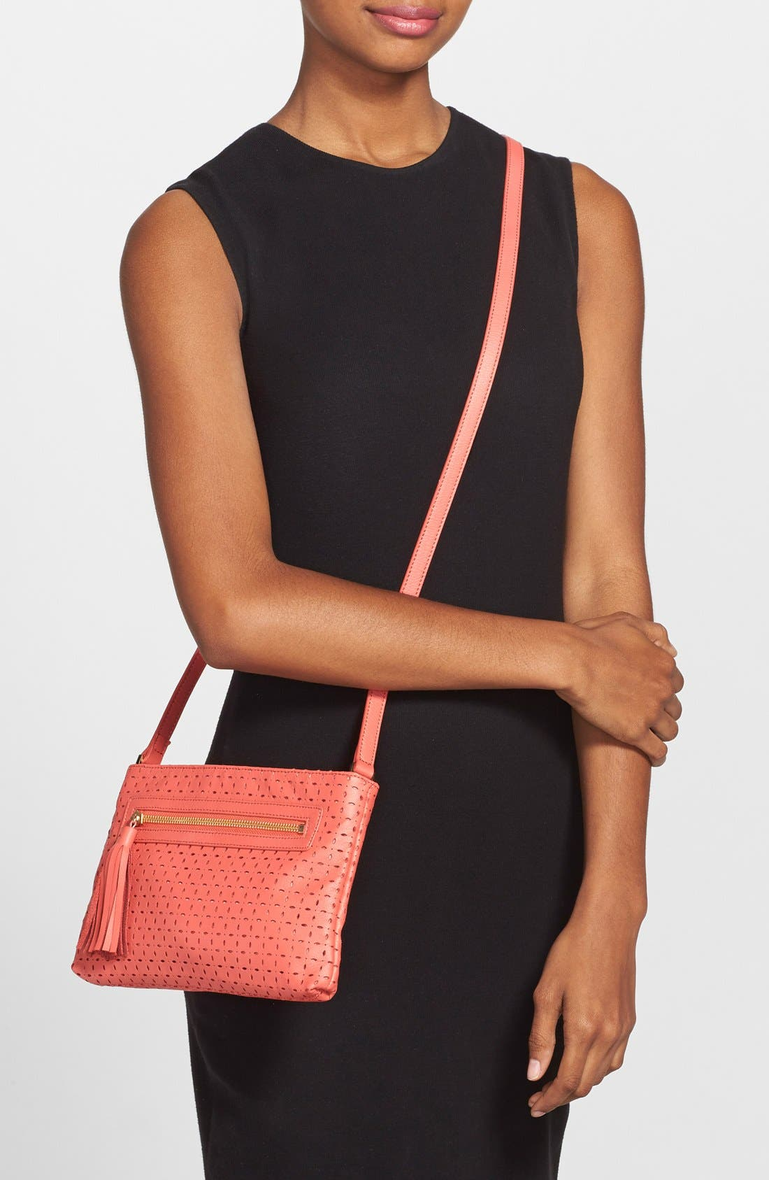 Alternate Image 2  - Halogen® Perforated Leather Crossbody Bag