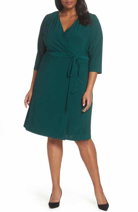 366d6c8c4ee Eliza J Smocked Shoulder Wrap Dress (Plus Size)