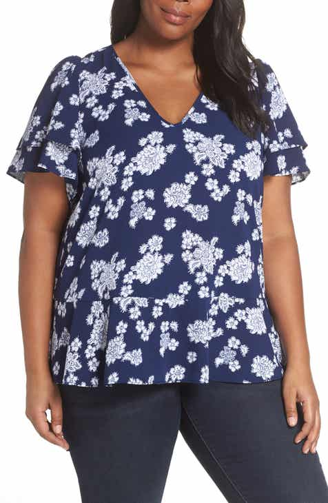 c07d0788972 MICHAEL Michael Kors Tossed Lace Flowers Top (Plus Size)