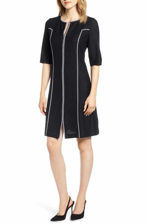 Ming Wang Gingham Trim Dress