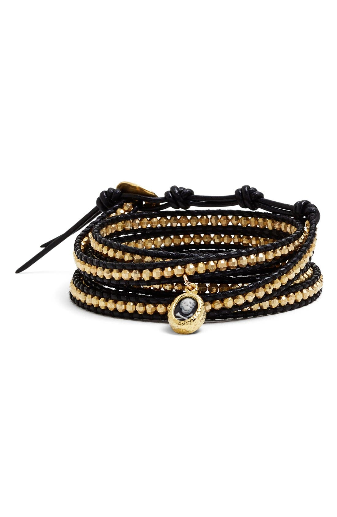 Main Image - Chan Luu Skull Charm Beaded Leather Wrap Bracelet