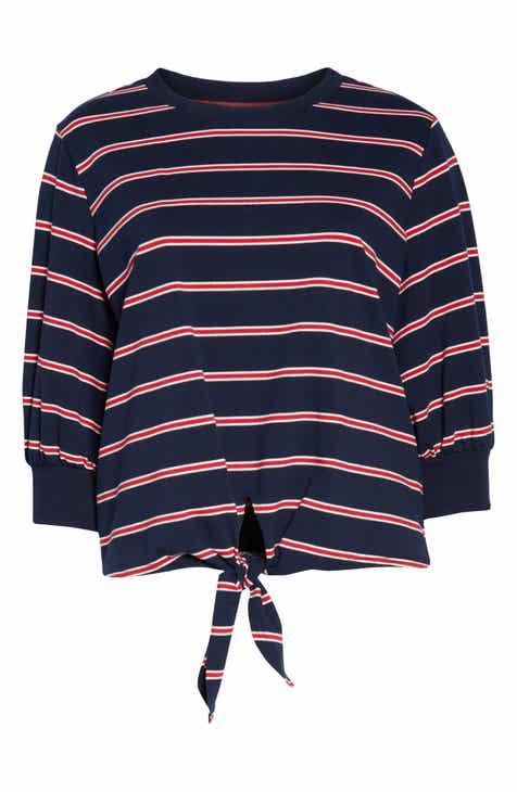 83ec97a57 Layered Tie Front Crewneck Sweatshirt (Plus Size)