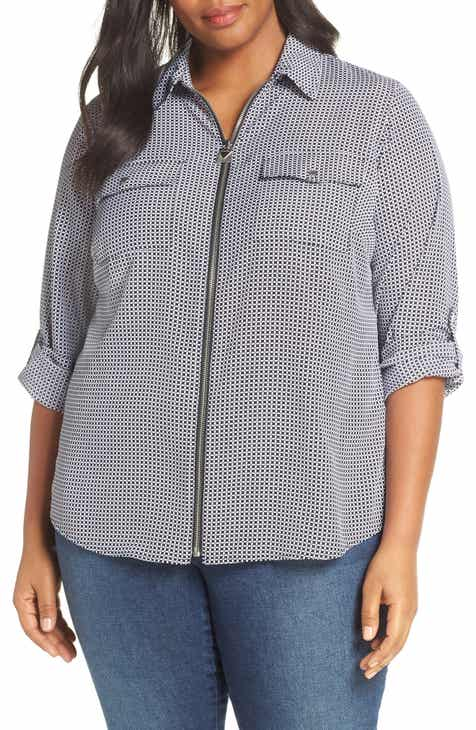 2c1027403e53 MICHAEL Michael Kors Geo Print Mini Lock Zip Front Shirt (Plus Size)