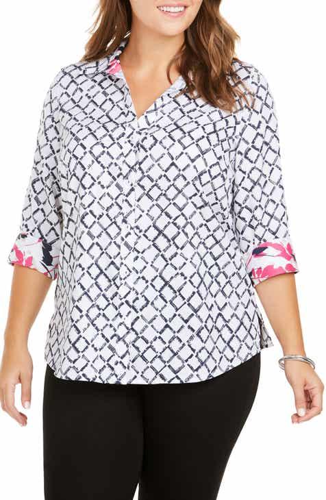 ec5f2815898 Foxcroft Mary Diamond Lattice Wrinkle Free Shirt (Plus Size)