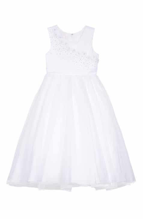 c413aeda2b0 Lauren Marie Imitation Pearl Tulle Dress (Little Girls   Big Girls)