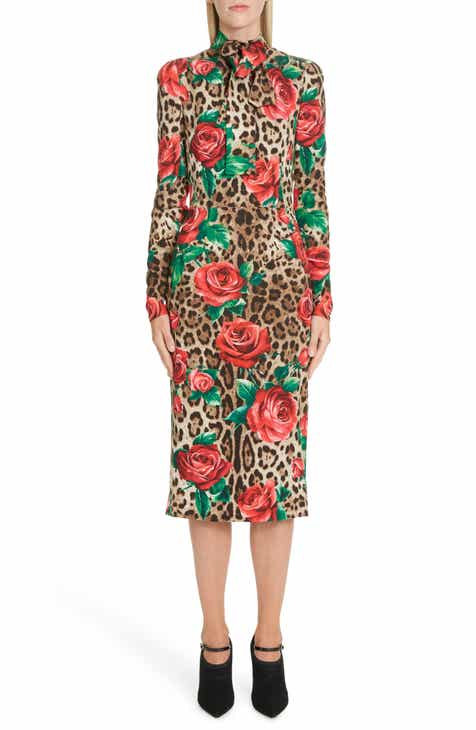 38000e9b2e8 Dolce Gabbana Rose   Leopard Print Tie Neck Stretch Silk Midi Dress