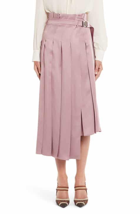 Fendi Pleated Satin Skirt by FENDI