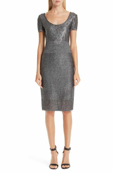 St. John Collection Metallic Plaited Mixed Knit Dress by ST. JOHN COLLECTION
