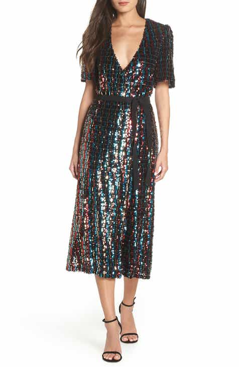 ML Monique Lhuillier Multicolor Sequin Wrap Dress