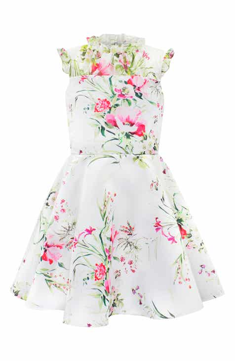 ef1ee02d3dd David Charles Floral Print Satin   Swiss Dot Party Dress (Big Girls)
