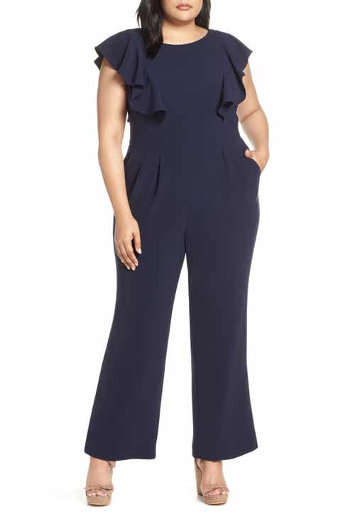140b1199cddf Eliza J Flutter Sleeve Jumpsuit (Plus Size)