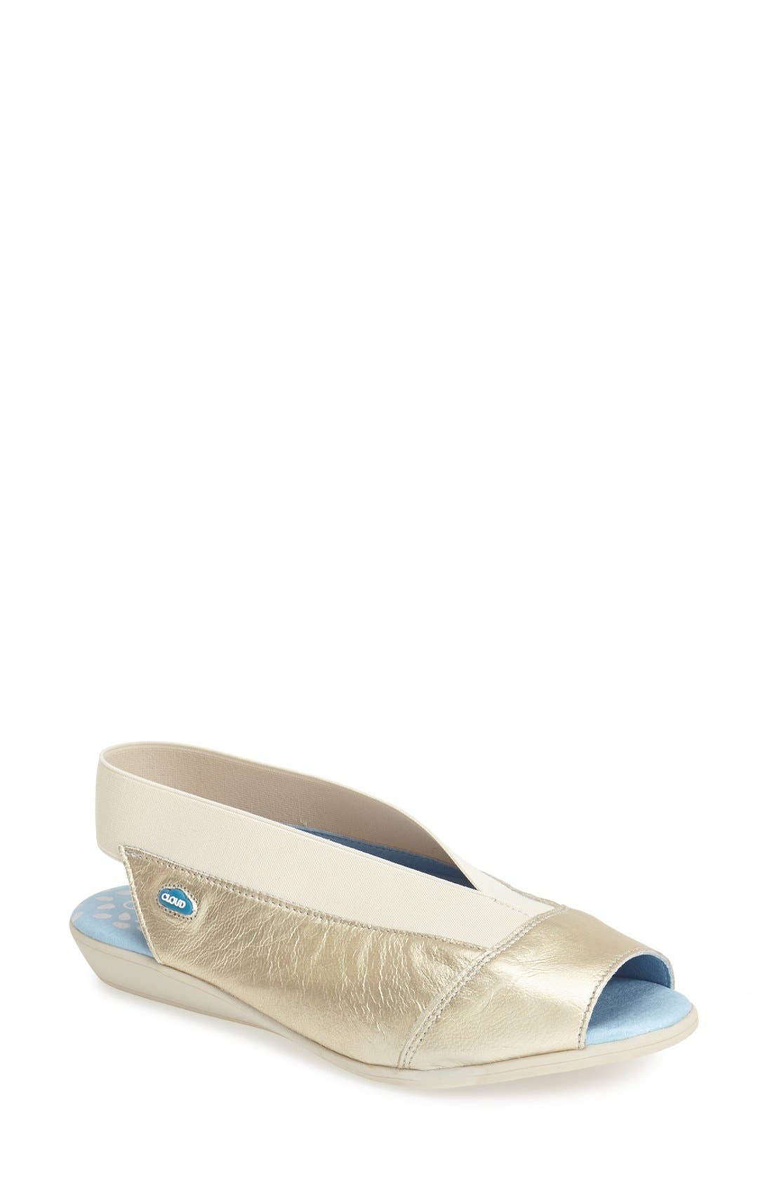 'Caliber' Peep Toe Leather Flat,                             Main thumbnail 1, color,                             Gold