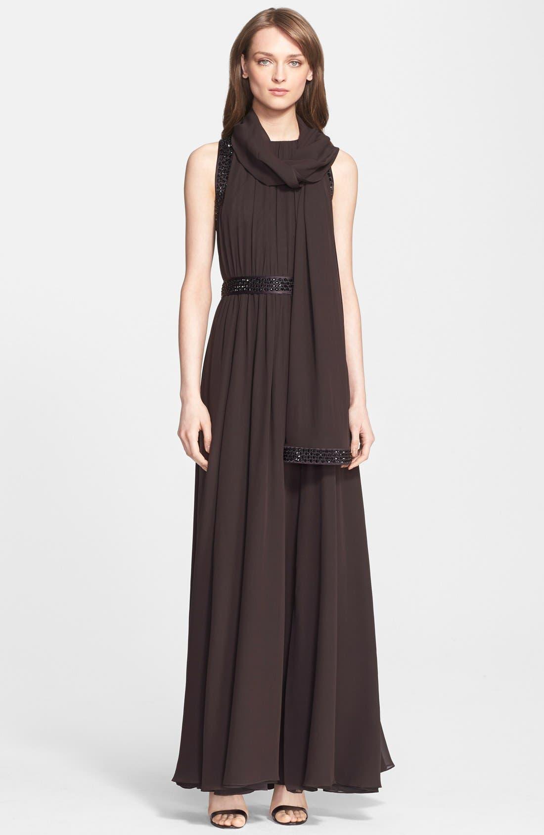 Alternate Image 2  - St. John Collection Belted Embellished Silk Georgette Gown