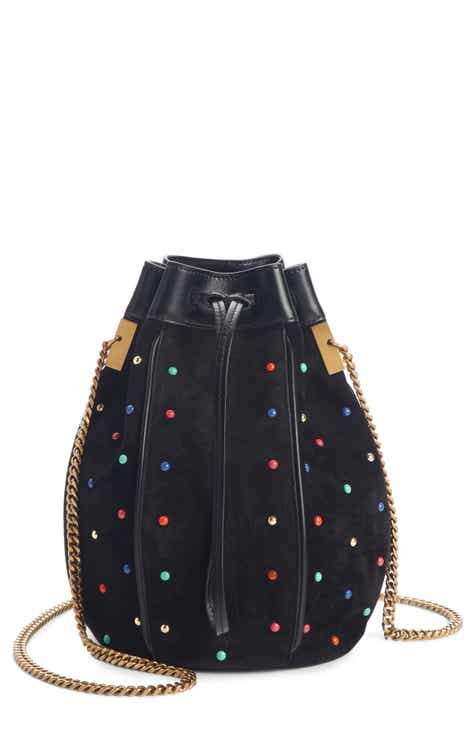 a84719c0af85 Saint Laurent Talitha Studded Suede Bucket Bag