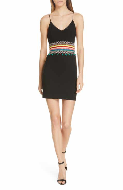 a63a5415def8 Alice + Olivia Loralee Embroidered Fitted Minidress