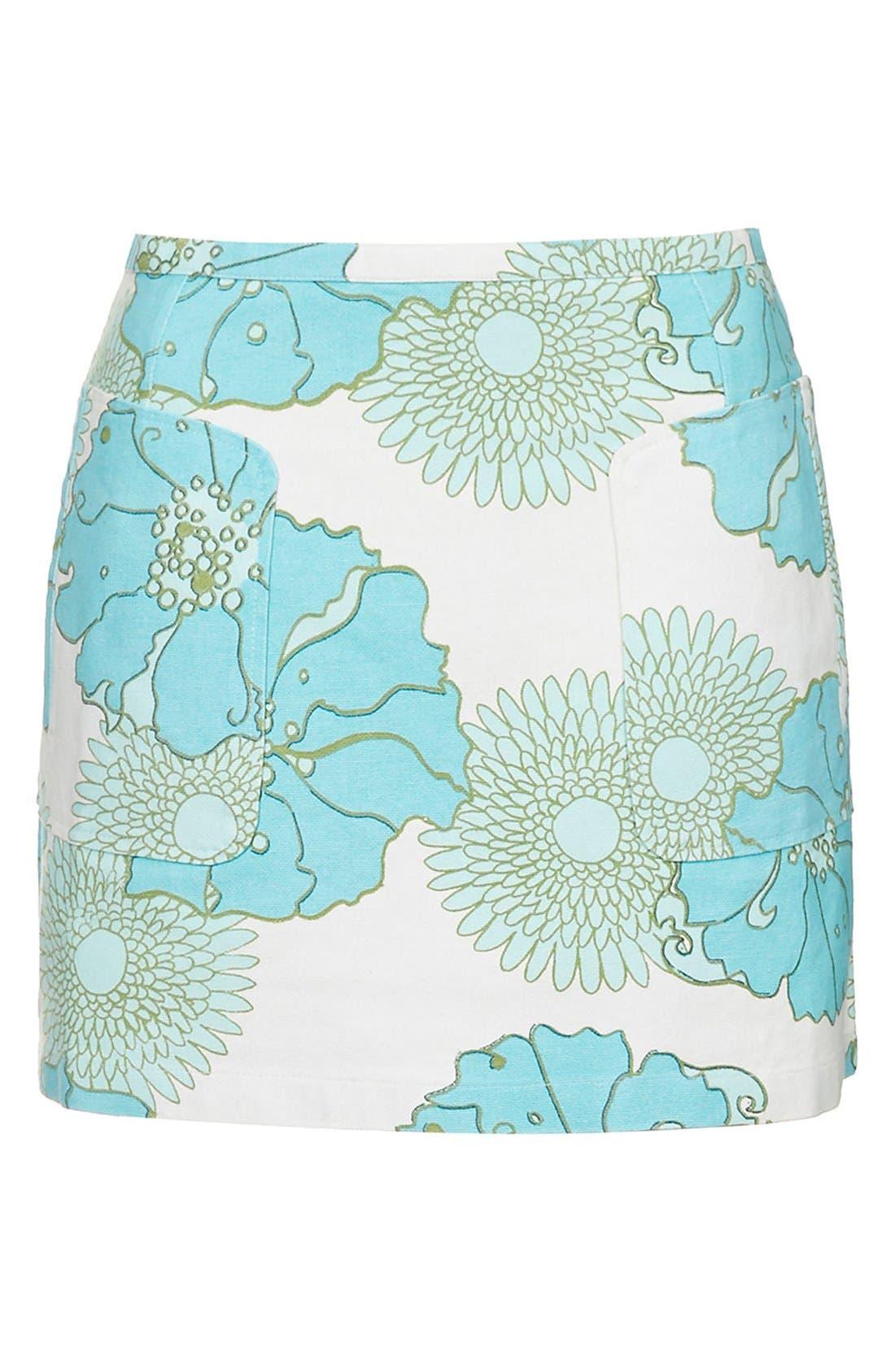 Alternate Image 3  - Topshop Retro Floral Miniskirt