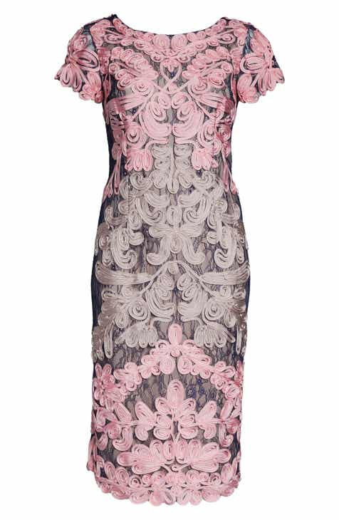 f4f9fa208fb1b JS Collections Two Tone Soutache Embroidered Midi Dress (Plus Size)