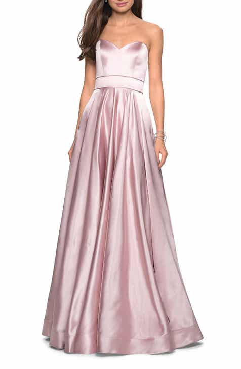 274c1575e0 La Femme Strapless Satin Evening Dress