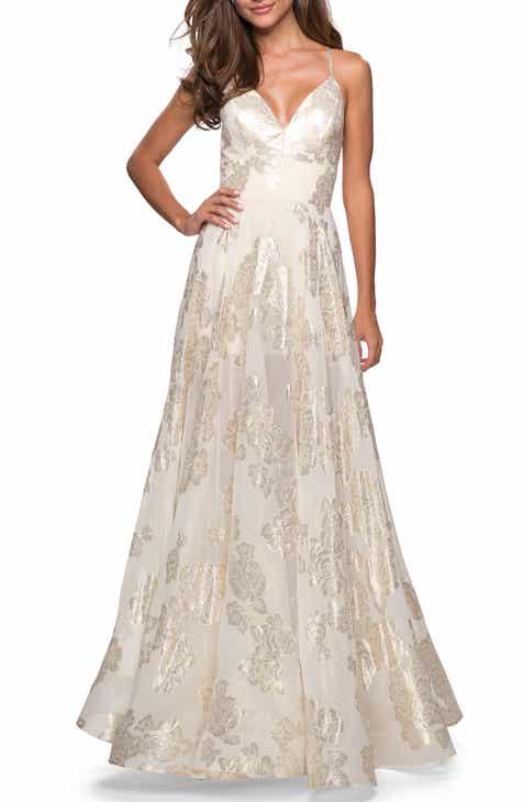 La Femme Floral Chiffon Jacquard Evening Dress
