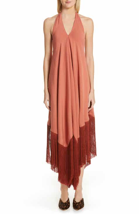 Gucci Sylvie Web Ruffle Stretch Jersey Dress by GUCCI
