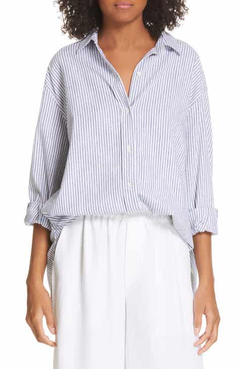 d264ff6e9acc0f Vince Stripe Oversize Cotton Blend Blouse