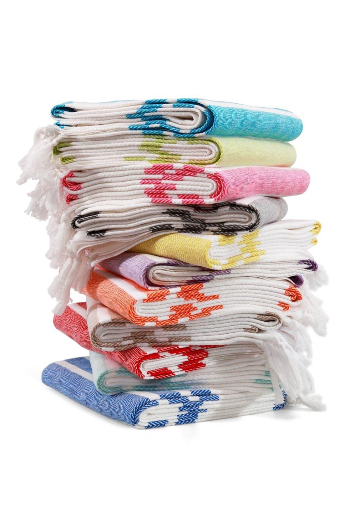 Herringbone Striped Turkish Pestemal Towel,                             Alternate thumbnail 5, color,