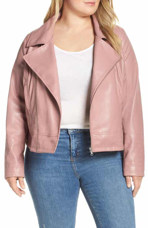 a65ccba75df Halogen® Quilted Faux Leather Moto Jacket (Plus Size)