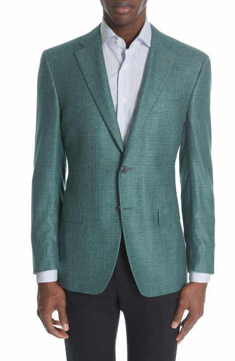 0ab415dfba6 Canali Siena Classic Fit Check Silk   Cashmere Sport Coat