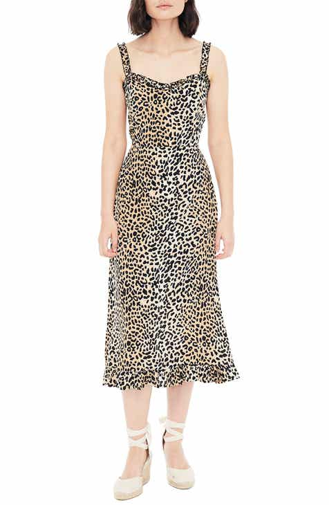 FAITHFULL THE BRAND Noemie Animal Print Midi Dress