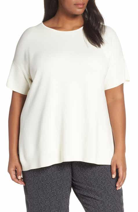 Eileen Fisher Silk & Cotton Sweater (Plus Size) by EILEEN FISHER
