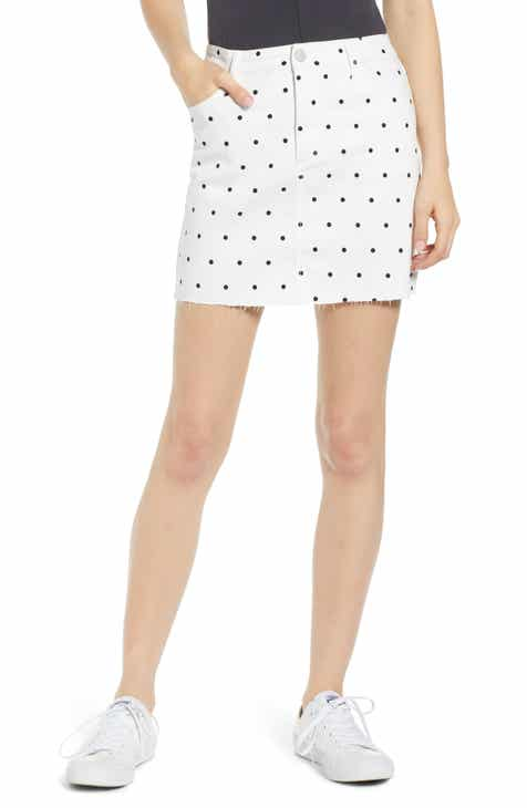 Tinsel Polka Dot Denim Miniskirt by TINSEL