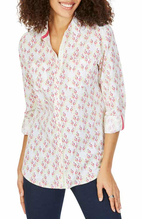 538279056a7a42 Foxcroft Zoey Dancing Flamingoes Cotton Shirt