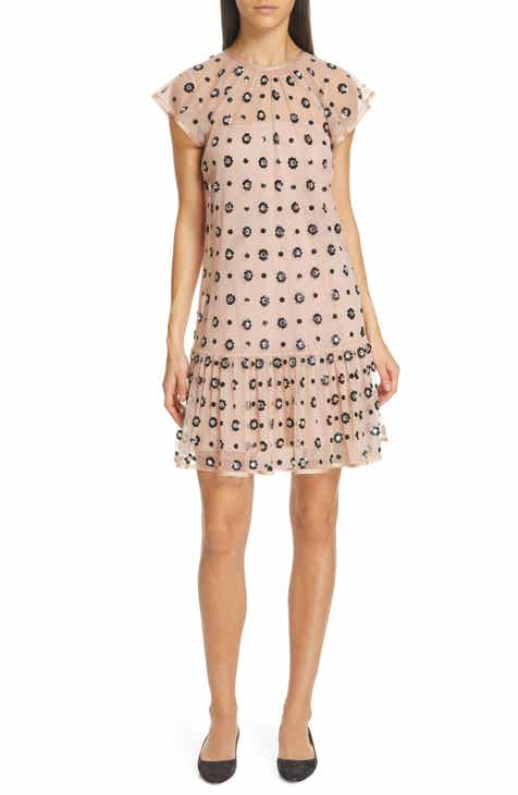 f50006393225a RED Valentino Floral Sequin Drop Waist Dress