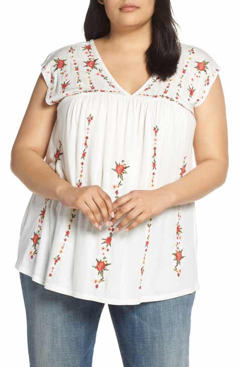 49a5fa7b004 Lucky Brand Embroidered Top (Plus Size)