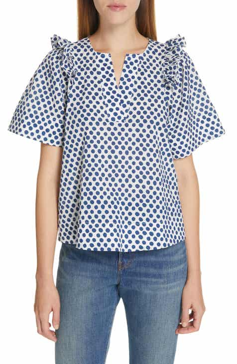cca702eee07 Sea Ruffle Shoulder Polka Dot Top