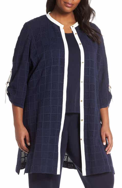 Ming Wang Patchwork Knit Jacket (Plus Size) by Ming Wang