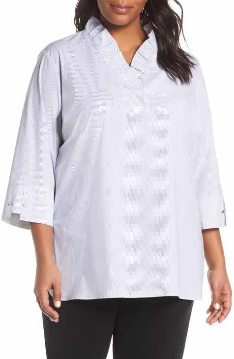 e8cb84cb181 Ming Wang Ruffle Neck Shirt (Plus Size)