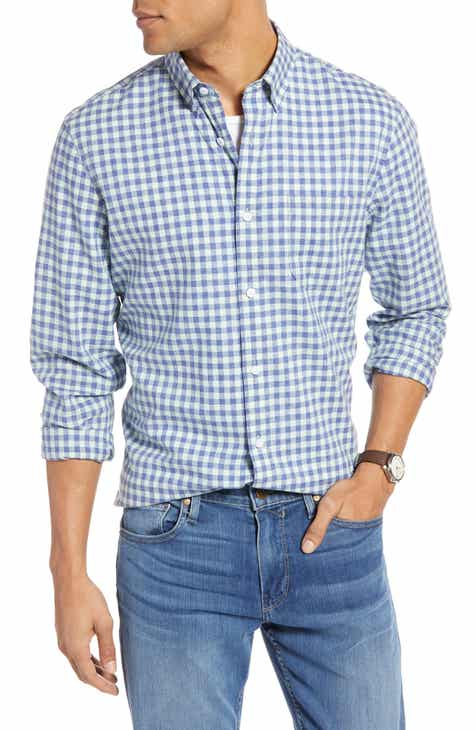1901 Button Down Heather Gingham Linen Blend Sport Shirt