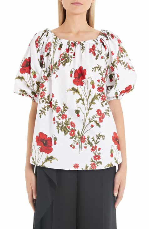 b1d978d71389 Alexander McQueen Poppyfield Print Off the Shoulder Top